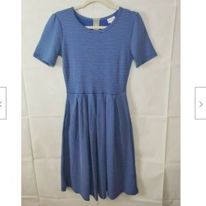 LuLaRoe Amelia Blue & White Striped Dress